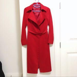 Jackets & Blazers - Long Red Coat w/ Belt